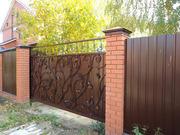 Забор,  откатные ворота,  навес,  металлоконструкции и д.р.